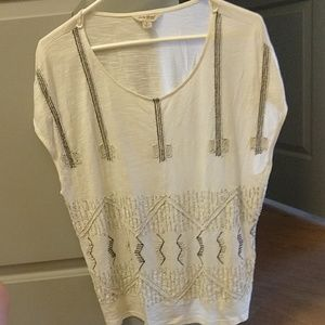 Small Women's Lucky Brand Off-White Beaded Top
